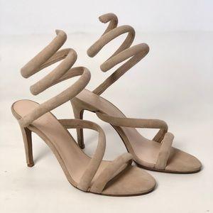 Raye Odette Spiral Wrap Around Heels Nude 6.5